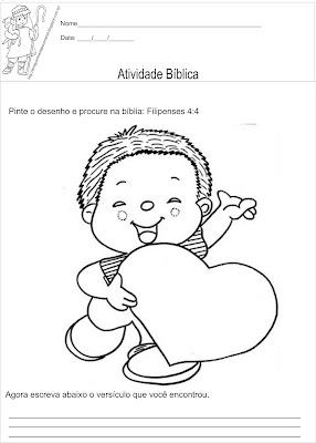 Atividade bíblica para ler e colorir filipenses 4:4