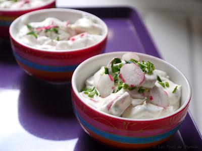Verrines de radis au chèvre frais à tartiner (voir la recette)