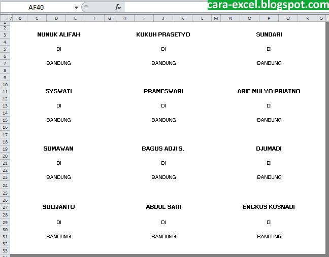 Membuat Label Undangan dengan Excel ~ Tips Excel