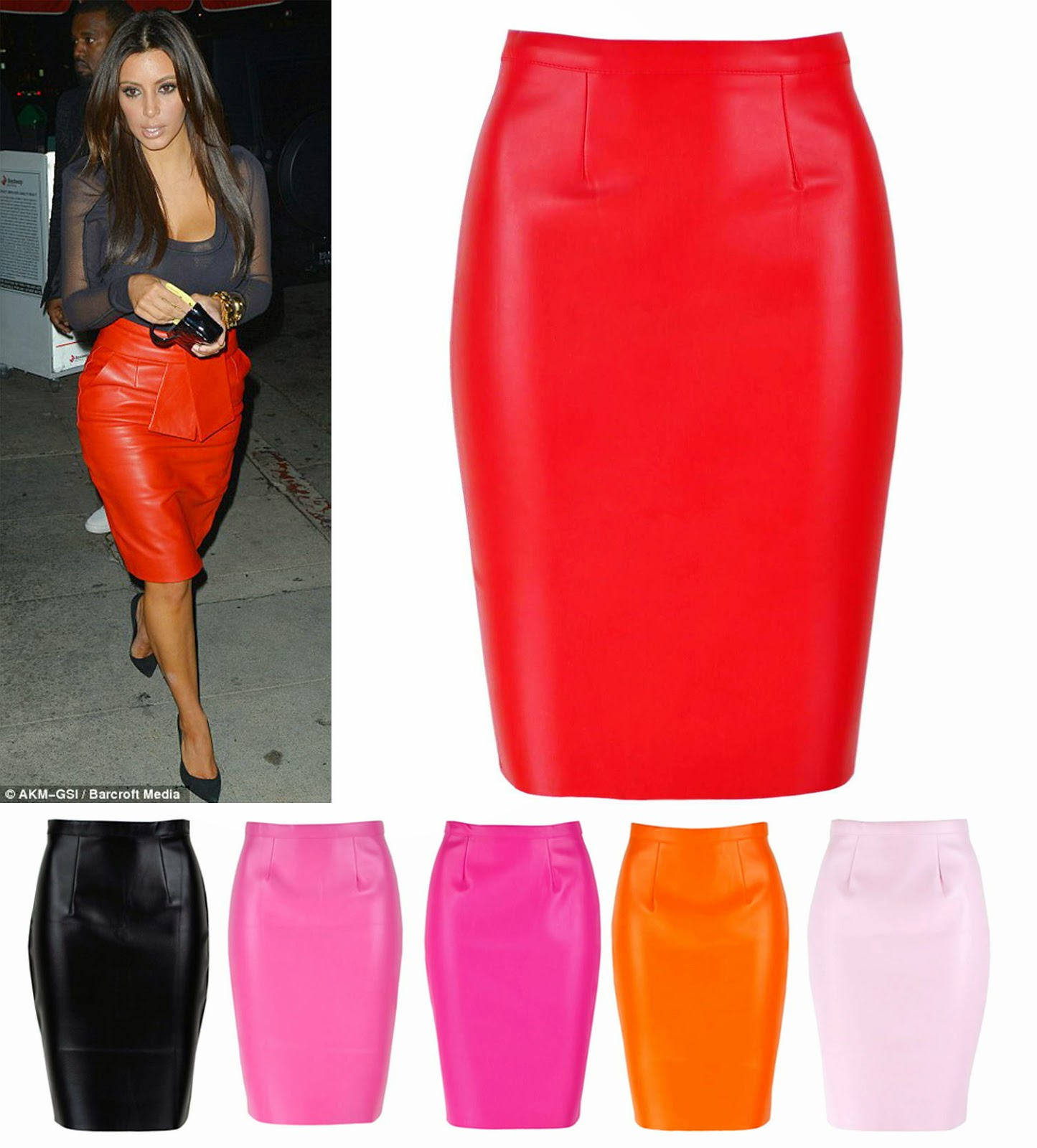 GET THE LOOKS: Celeb loved Pencil Leather Midi Skirt in Bright ...