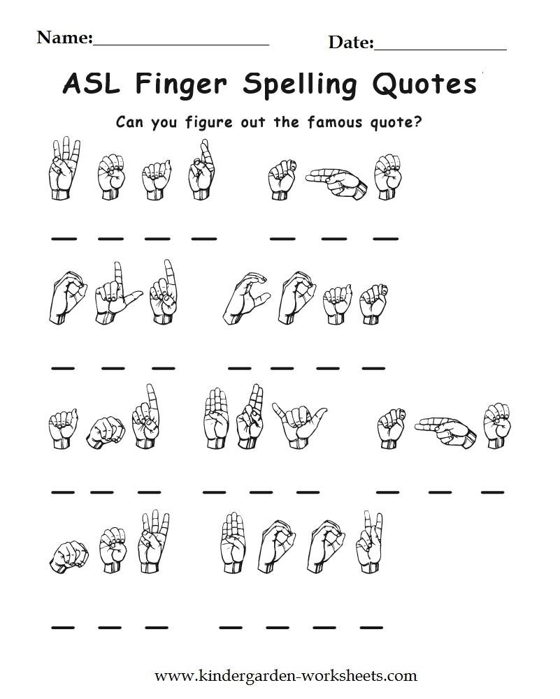 Asl worksheets for adults