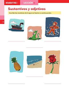 Apoyo Primaria Español 2do grado Bloque 1 lección 6 Sustantivos y adjetivos