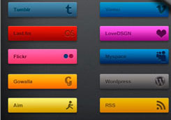 social buttons with transitional effects v2