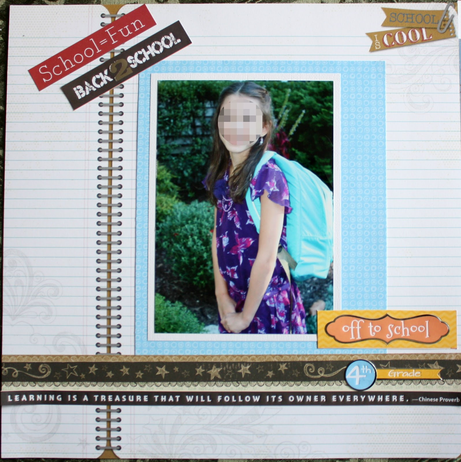 Scrapbook paper companies - The Above Layout Was Created Using Little Yellow Bicycle S Making The Grade Paper Collection I Used Two Sheets Of New Notebook Blue Fun Dot