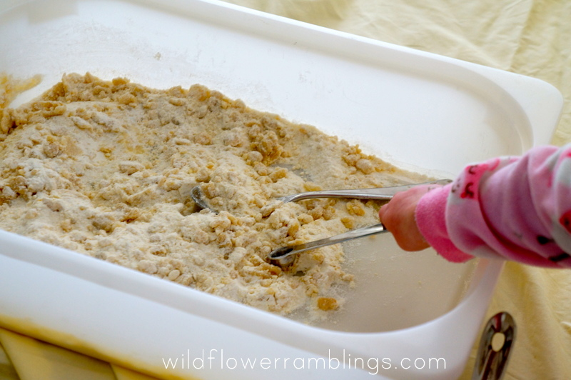 http://wildflowerramblings.com/baby-play/cloud-dough-12-months-sensory-dough/