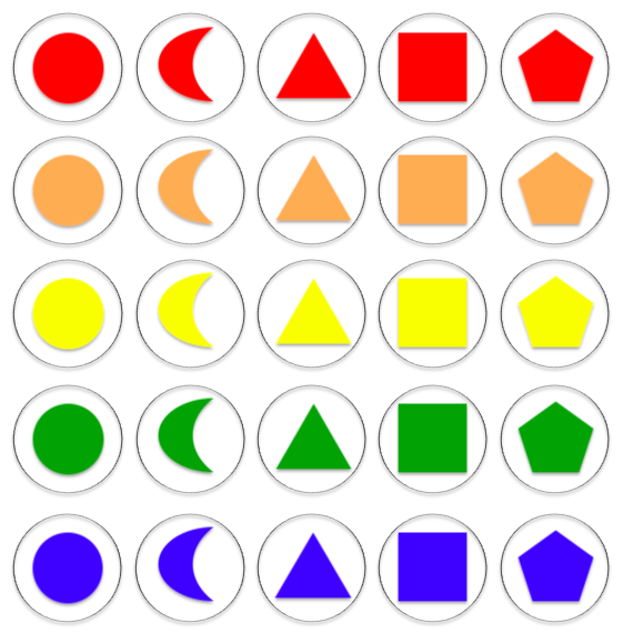 A grid showing all of the different drogna. Five each of circle, crescent, triangle, square and pentagon. Each in a different colour from Red, Orange, Yellow, Green and Blue.