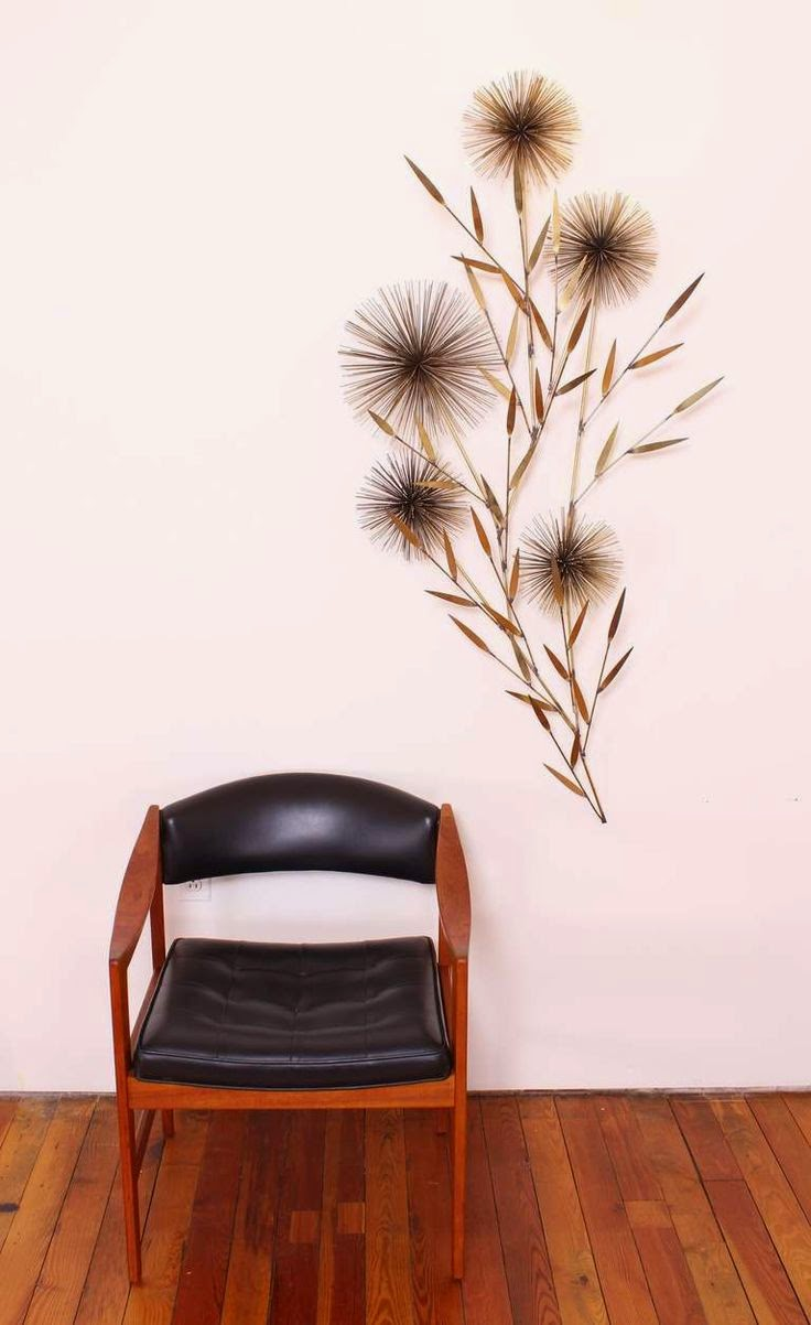 Escultura dorada vintage de pared espigas y flores