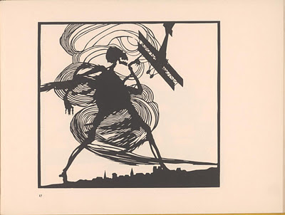 silhouette of death's dance figure downing WWI plane