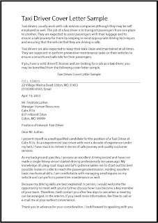 Awesome Taxi Cab Driver Cover Letter Pictures - Printable ...