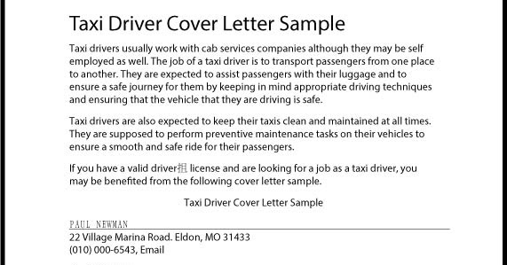 great sample resume taxi driver cover letter sample
