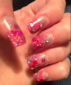 Pink Acrylic Nail Art Designs With Rhinestones