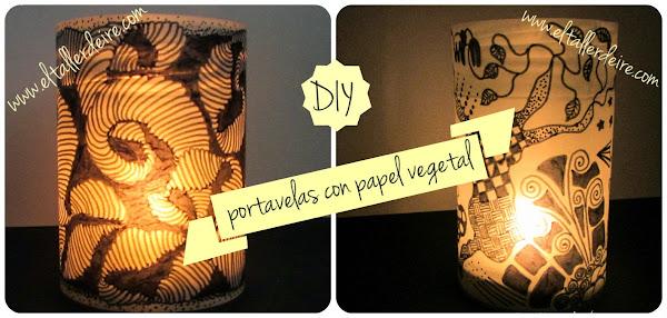Portavelas con papel vegetal