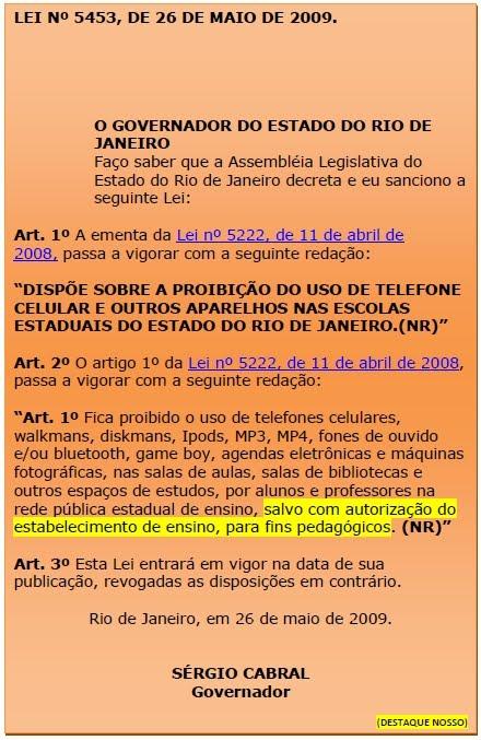 USO DE CELULAR E ASSEMELHADOS NA ESCOLA