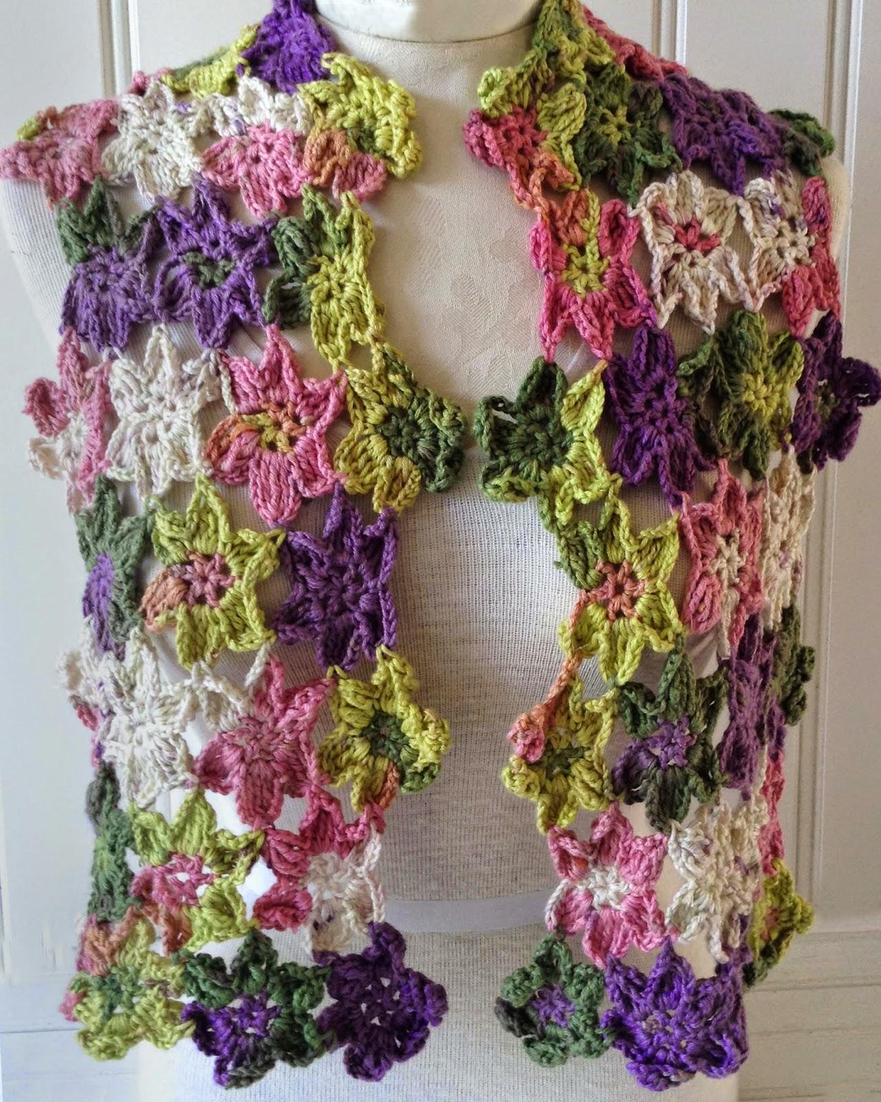 Crochet Floral Shawl Pattern : A Whole New Premier: Flower Fall Shawl