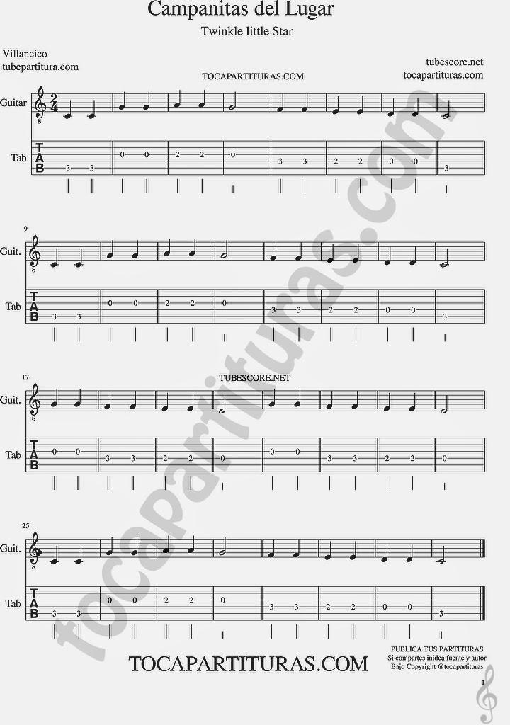 Tubescore Twinkle Twinkle Little Star Tab Sheet Music for Guitar Campanitas de Lugar Christmas Carol
