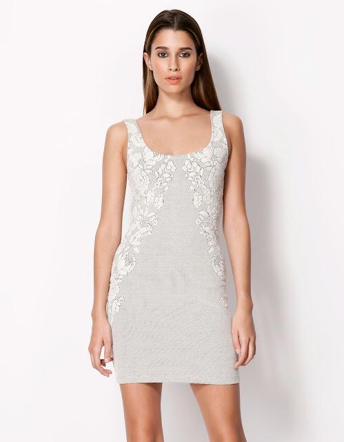 beyaz krem elbise, dar kesim dantelli