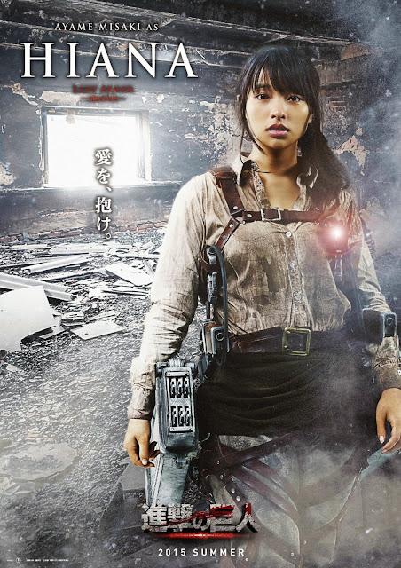 Plakat z filmu Attack on Titan na którym jest Ayame Misaki jako Hiana
