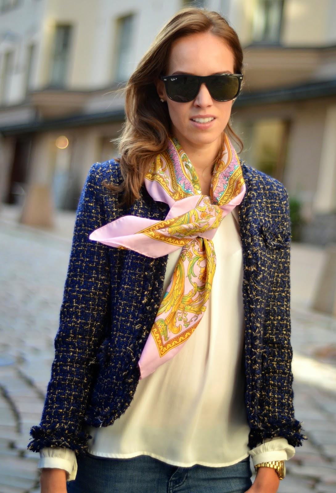 ray-ban-sunglasses-motivi-silk-scarf-sheinside-blazer
