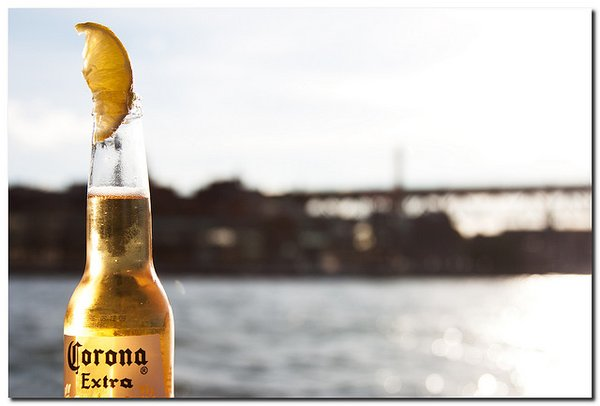 Bottle of Corona beer with lime
