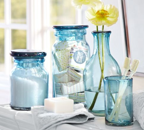 These Sparkling Recycled Glass Bath Accessories Feature The Beautiful Blue  Tint Characteristic Of Pieces Made Entirely Of Hand Blown Recycled Glass  From ...