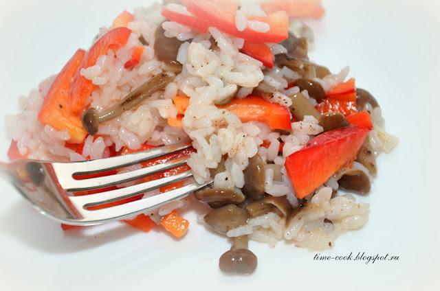 Салат рис+грибы+болгарский перец