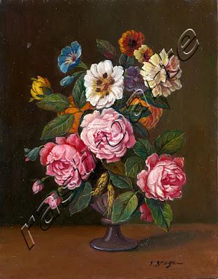 Conjunto de rosas, flores varias y espigas de trigo dispuestas en florero lobulado de ceramica vidriada