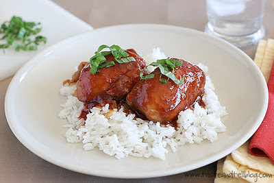 Slow Cooker (CrockPot) Honey Garlic Chicken Recipe from Taste and Tell found on SlowCookerFromScratch.com
