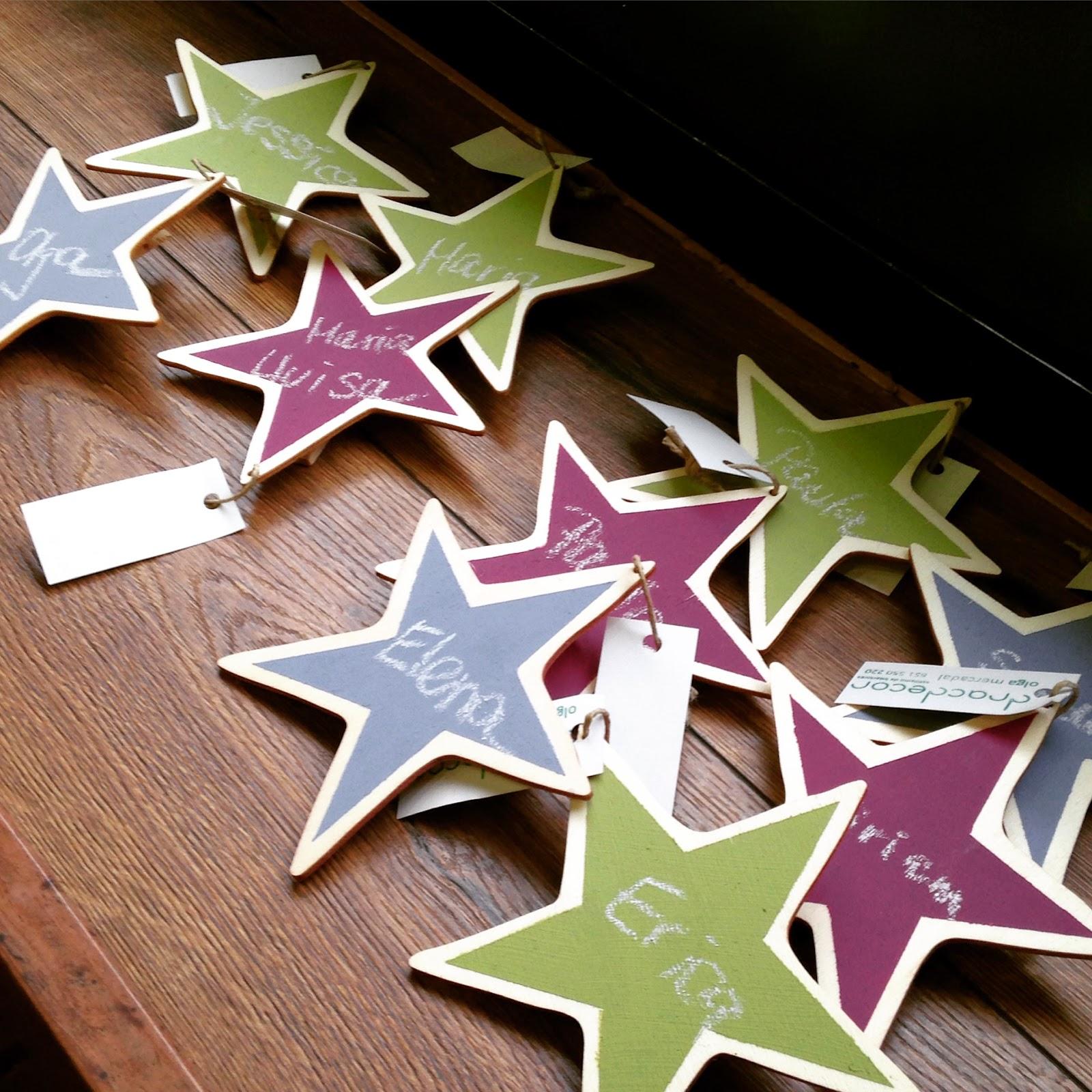 detalles para las asistentes al workshop, estrellas pintadas con chalkpaint