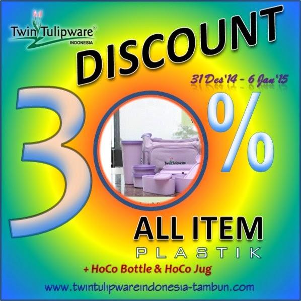 Promo Tahun Baru 2015 - Twin Tulipware Diskon 30% All Item Plastik + HoCo Bottle & HoCo Jug
