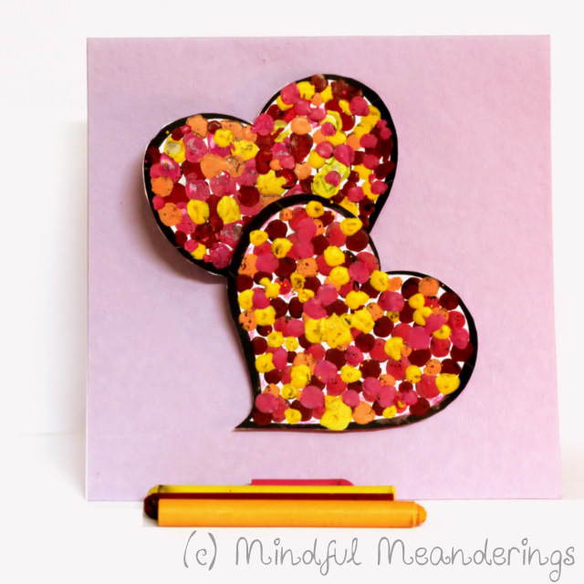 MeltedCrayonHeart1 | 3D Melted Crayon Heart Card   Collaborative HeArt Project | Valentines Day Crafts #Age5 7