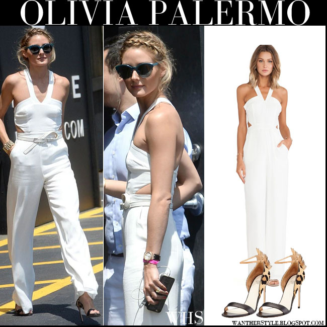 Olivia Palermo in white cut out Lovers Friends Adore You jumpsuit with leopard print Francesco Russo sandals what she wore july 24
