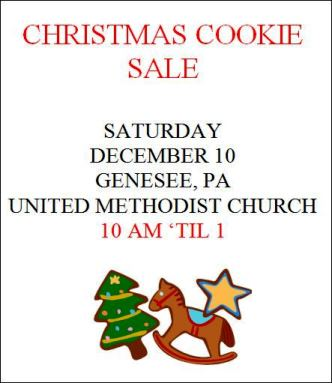 12-10 Christmas Cookie Sale Genesee UMC