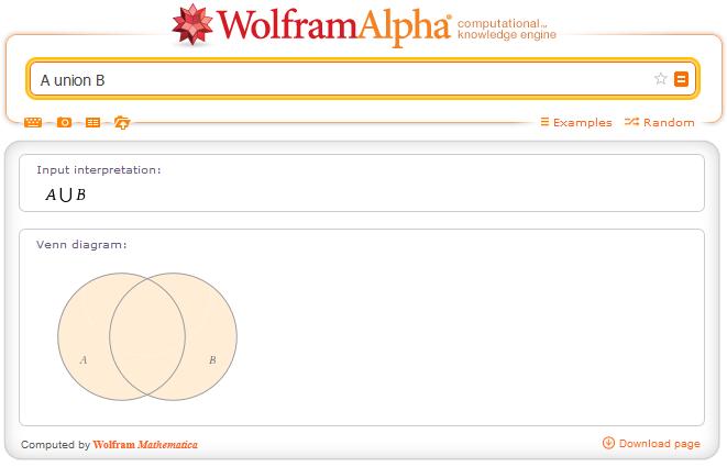 http://www.wolframalpha.com/input/?i=A+union+B&dataset=