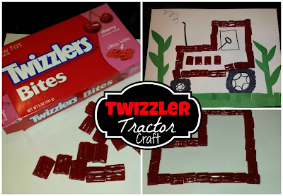 make a tractor out of twizzler bites a kids craft