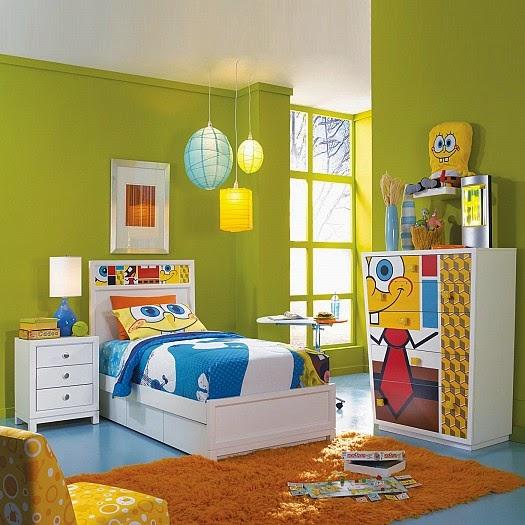 غرفة نوم اطفال خضراء مع صورة سبونش بوب