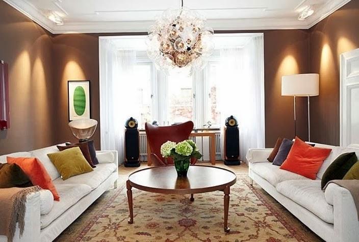 Salas en color chocolate salas con estilo - Decoracion turquesa y naranja ...