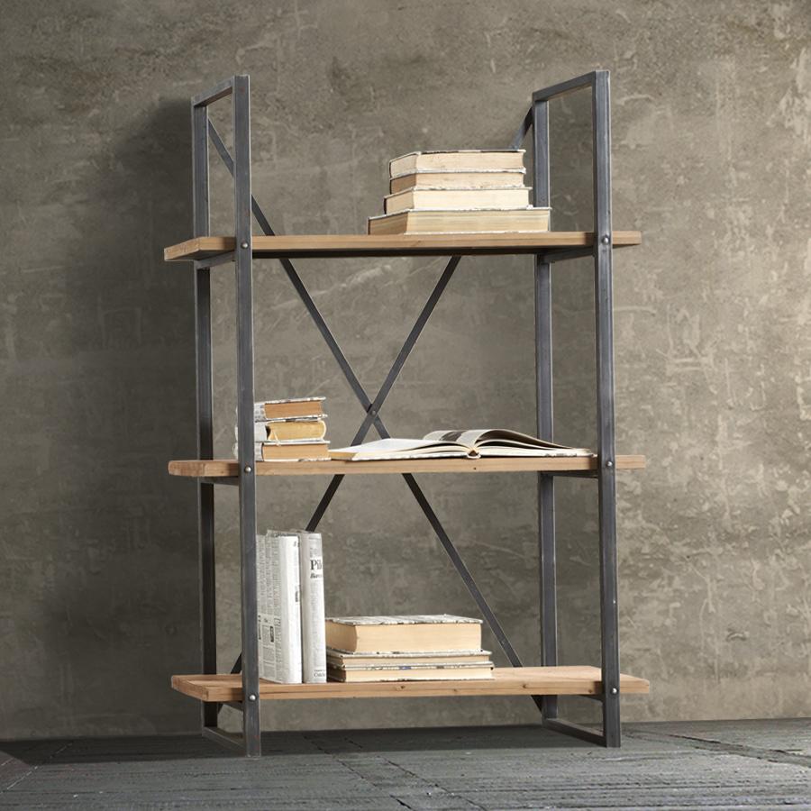 Libreria-struttura-metallo-ripiani-legno-pino-antico_libreria+Bradford ...