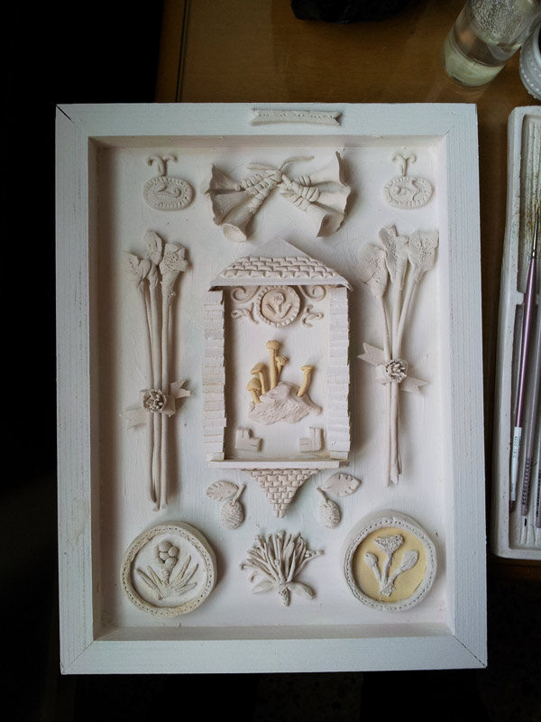 white paperclay diorama art