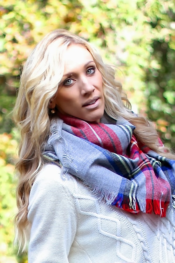 plaid scarf chunky sweater