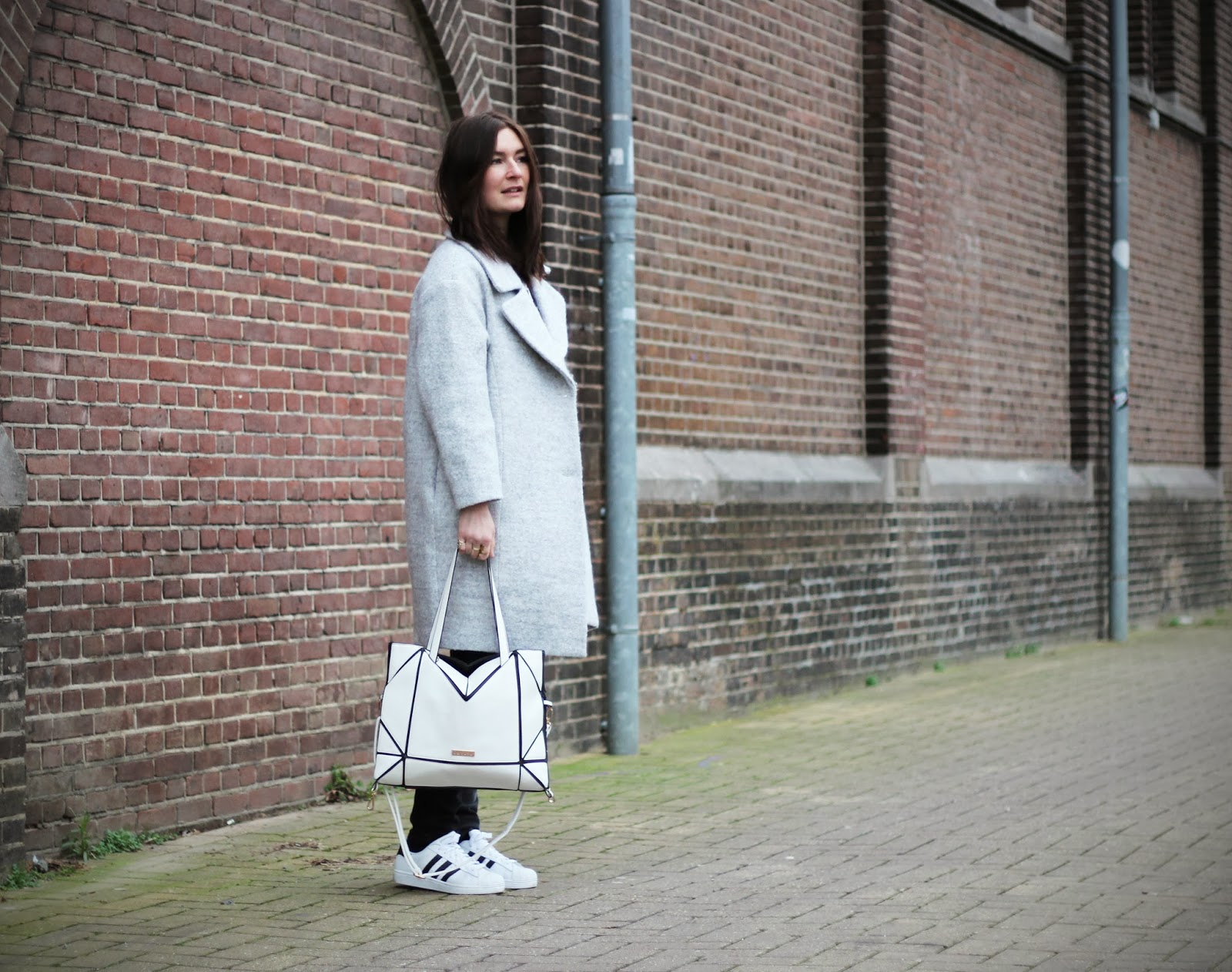 long grey coat adidas superstar outfit inspiration fashion blogger