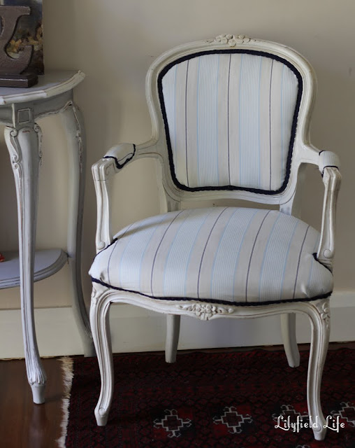 Upholstered French Louis Armchair with navy trim