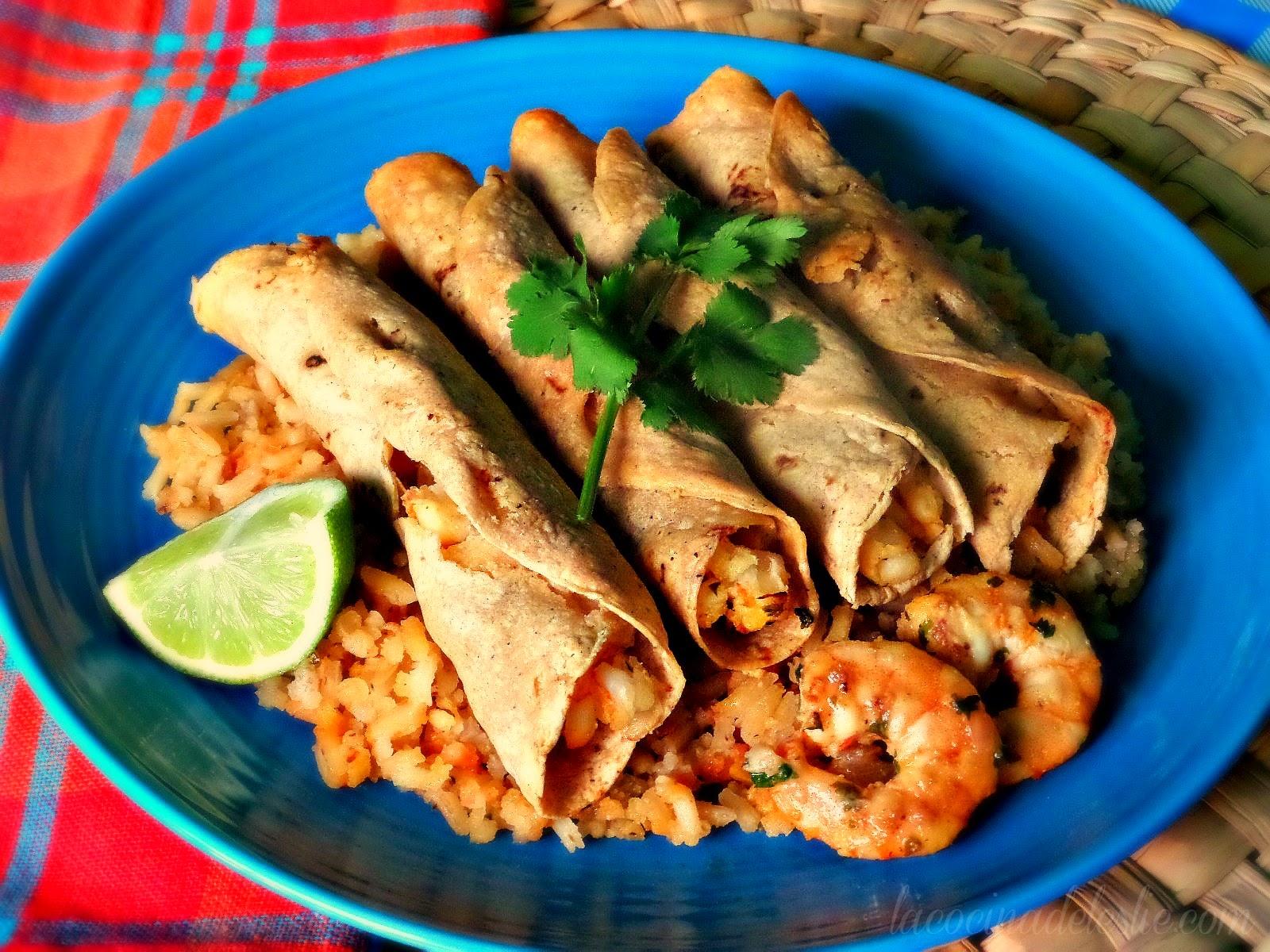Baked Jalapeño Lime Shrimp Taquitos - lacocinadeleslie.com