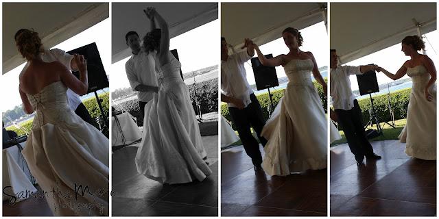 groom twirling his bride