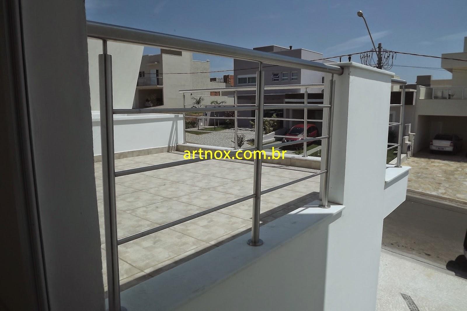 #506171  Guarda corpo em aço inox 304 escovado 3 tubinhos Guarulhos São Paulo 4376 Janela Aluminio Guarulhos