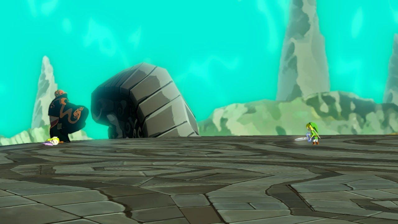 From a cutscene, Link prepares to fight Ganondorf.