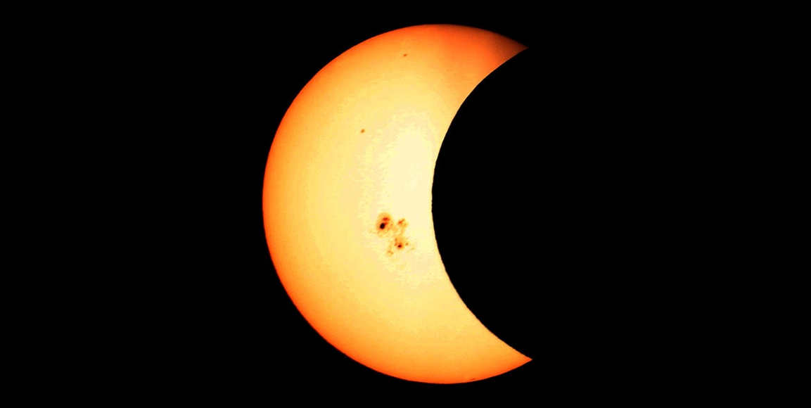 Partial solar eclipse on Oct. 23, 2014 seen from Fort Riley, Kansas. Credit: Brian Martin