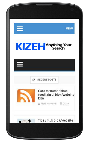 Tampilan mobile friendly pada blog kizeh