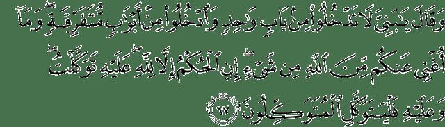 Surat Yusuf Ayat 67