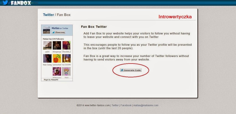 Generowanie Twitter Fanbox