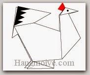 Bước 15: Vẽ mắt, lông để hoàn thành cách xếp con gà mái bằng giấy theo phong cách origami.
